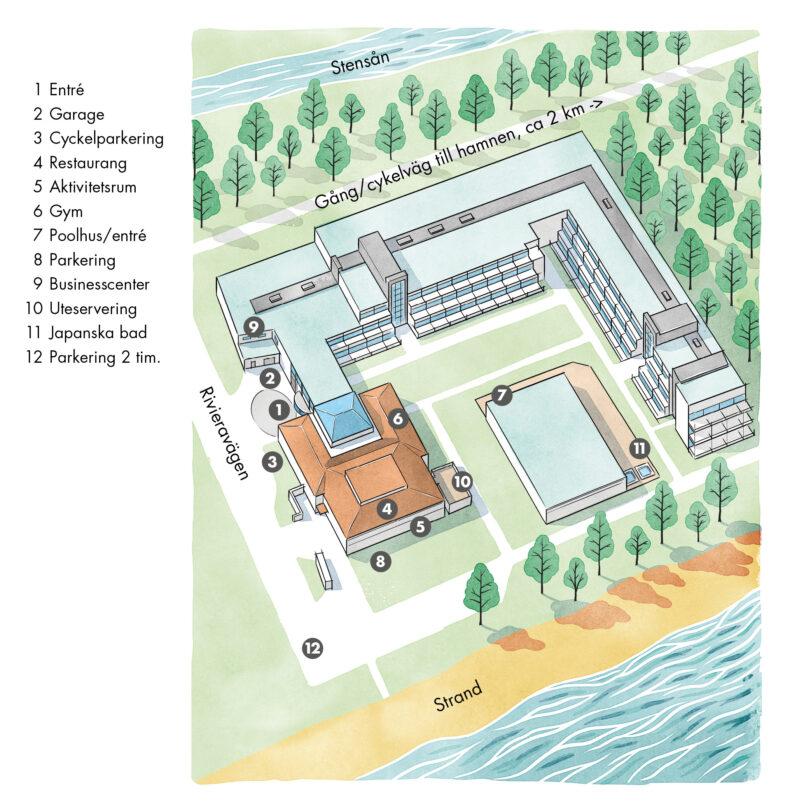Översiktskarta över hotellbyggnad och område Hotel Riviera Strand