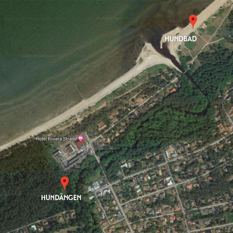 Satellitbild över hotell och hundområden vid Riviera