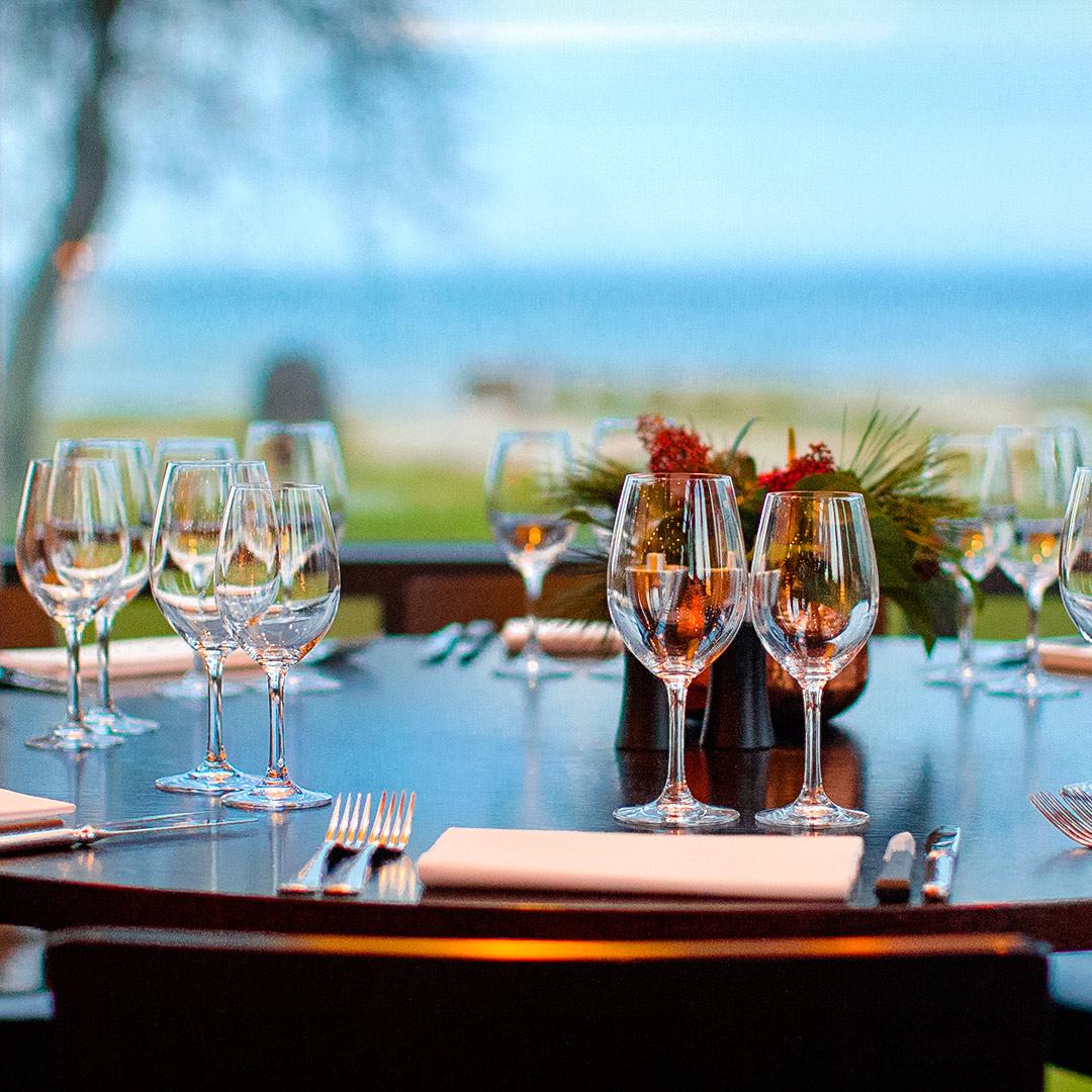 Dukat bord på Restaurang Sand i Båstad.