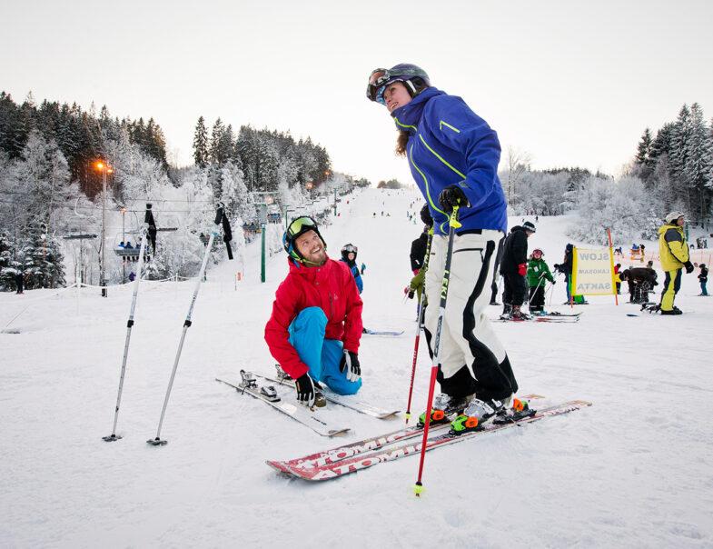 Skidåkare på Vallåsen i Båstad